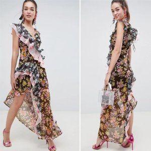 ASOS Design Mixed Floral Print Ruffle Maxi Dress